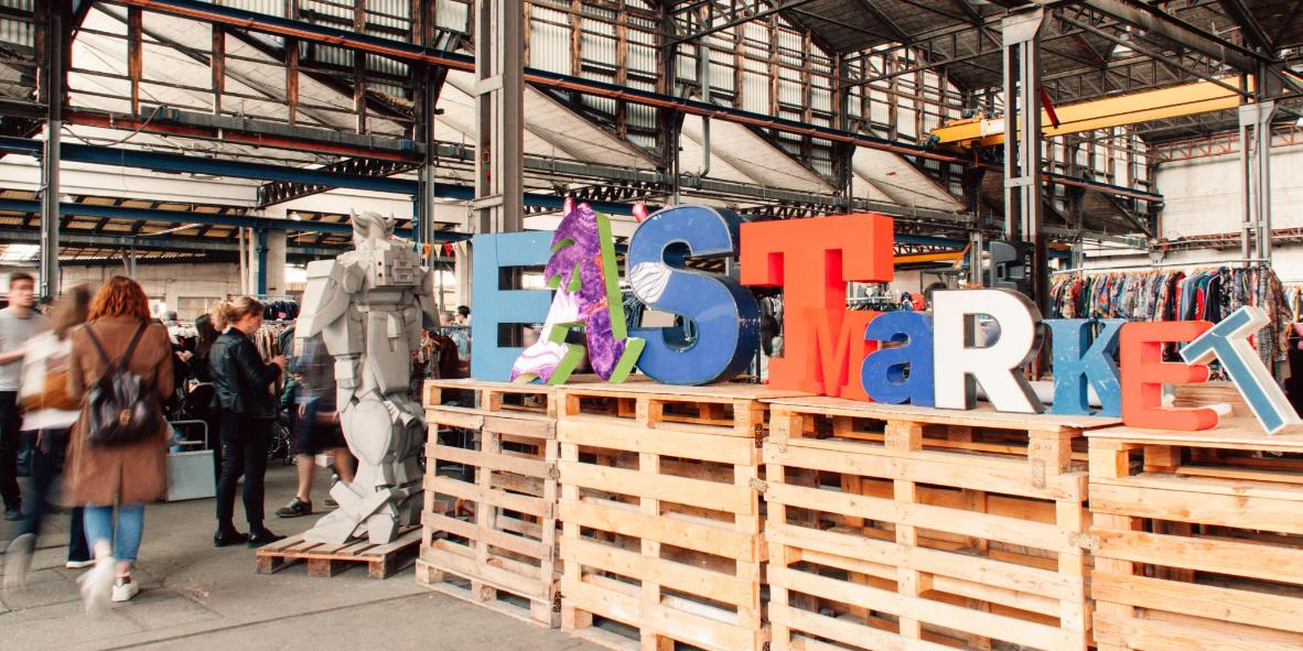 East Market's sign is as funky as its wares