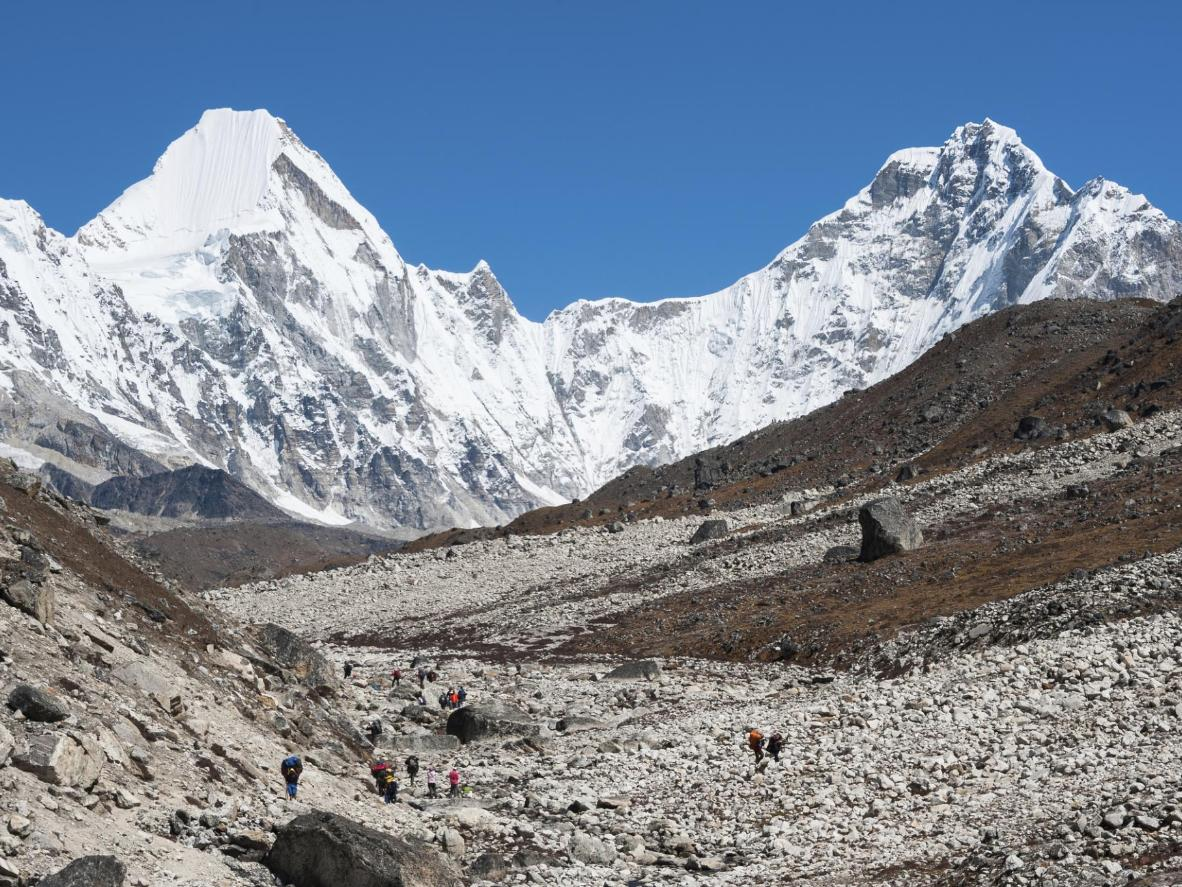 The exercise starts before the race begins, with the starting line a hike away at the Everest Base Camp