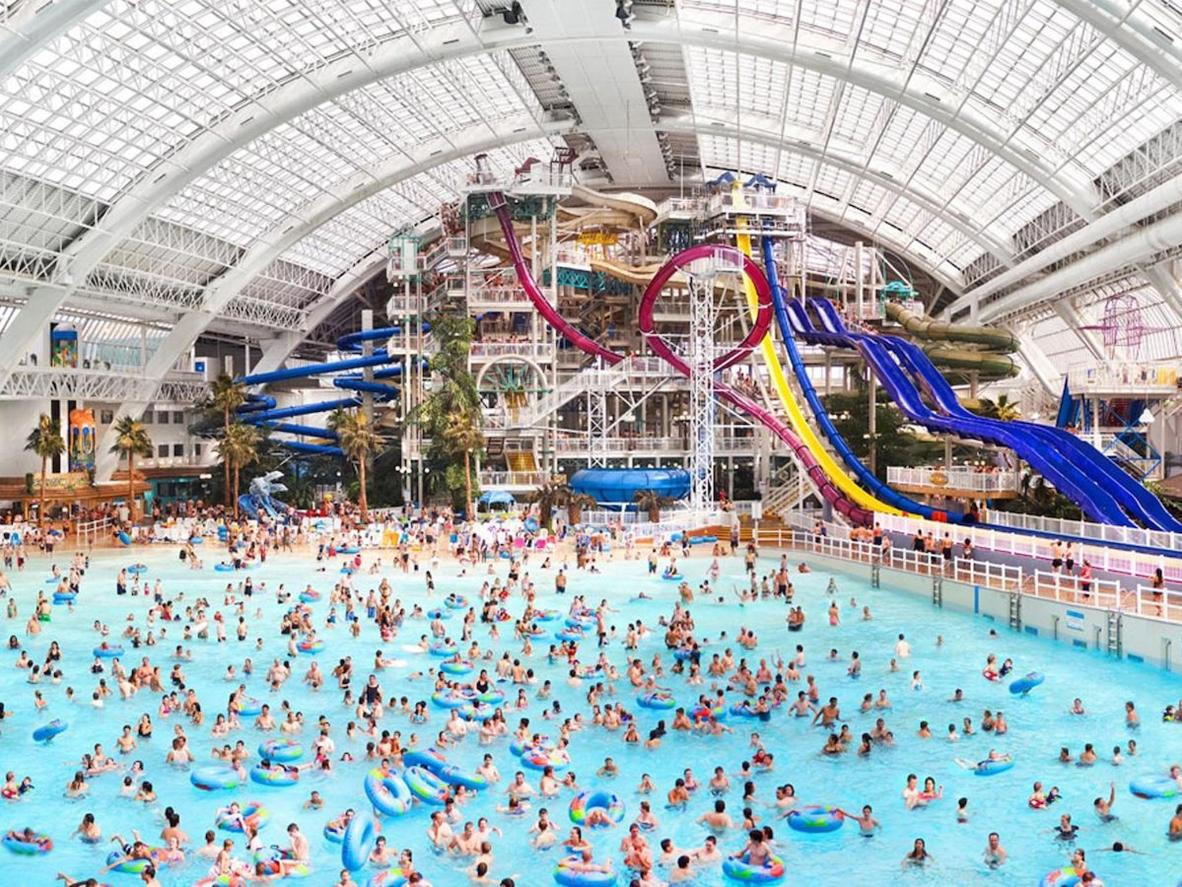 An indoor amusement park, ice rink, and acquarium are just some of the attractions