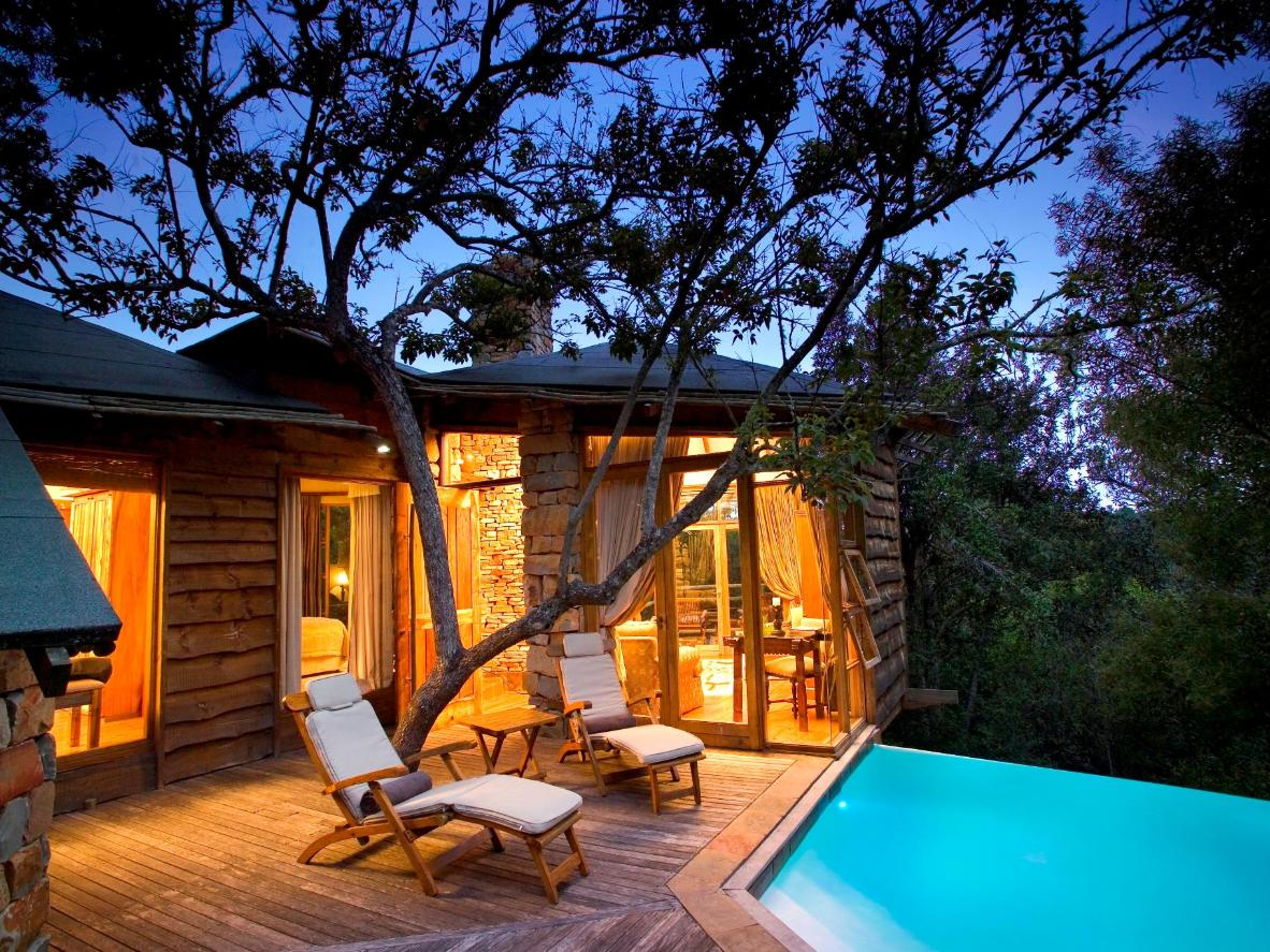 Your luxurious cabin and infinity pool rest above the tree canopy