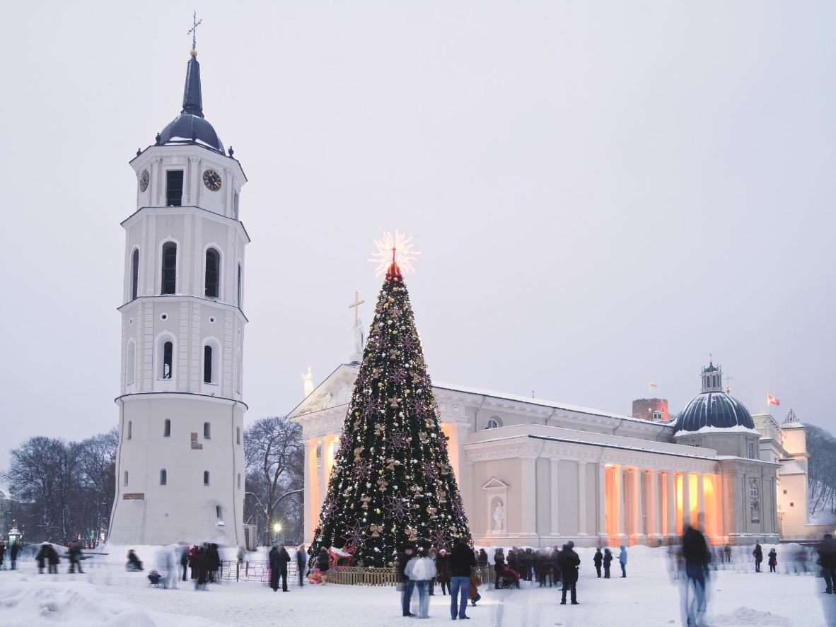 Lithuania's capital coated in snow is a very festive sight