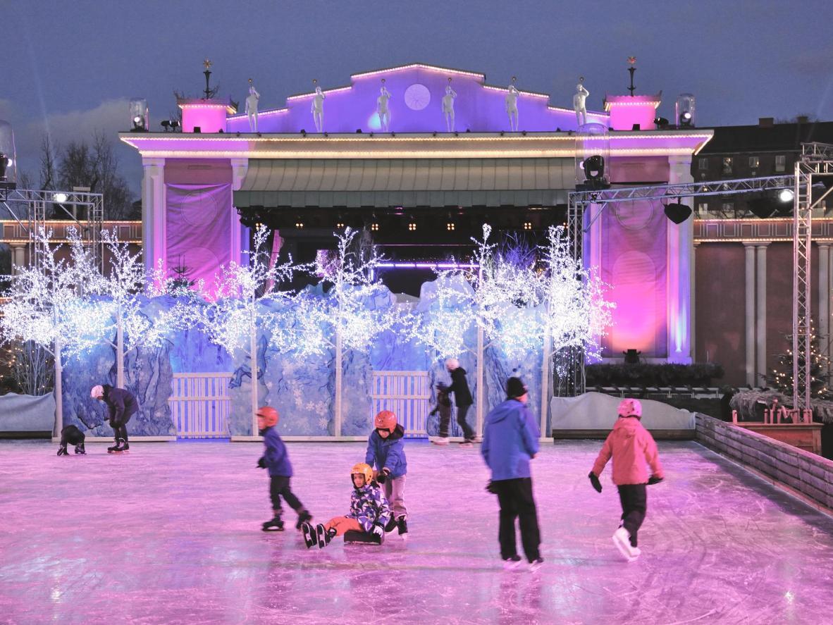 The ice rink at Liseberg Christmas market in Gothenburg