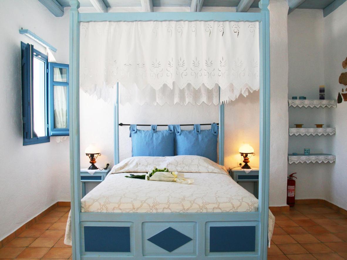 A traditional Greek island bedroom at Kalderimi