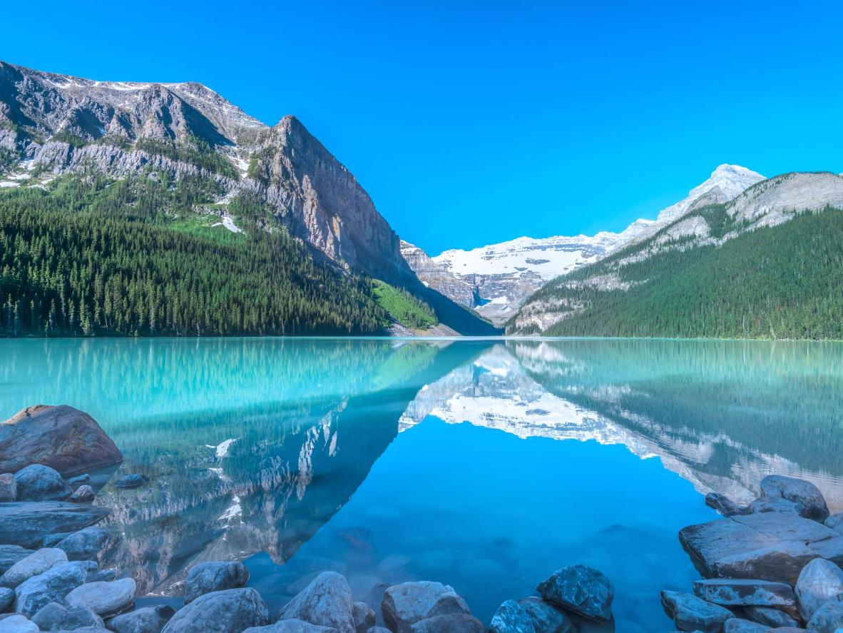 The turquoise-tinted Lake Louise, Canada