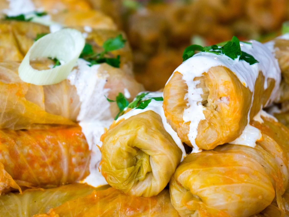Romanian delicacy, 'sarmale' (pickled cabbage leaves containing minced meat, rice and spices