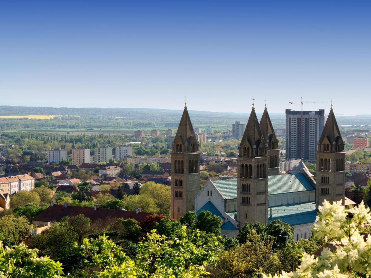 The skyline of Pécs, Hungary