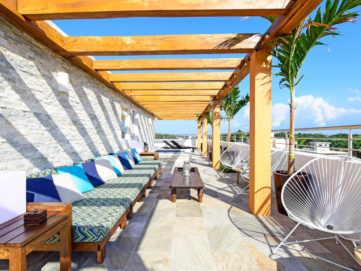 The relaxing terrace at Azura Boutique Hotel, Mexico