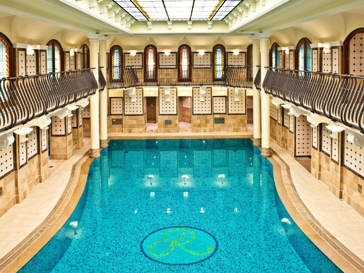 The Corinthia's elegant Spa Royale, complete with stained-glass ceiling