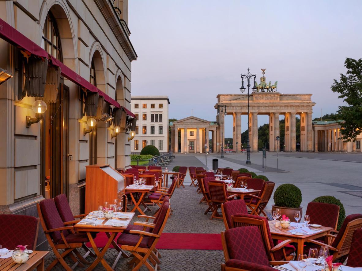 The Hotel Adlon Kempinski Berlin's prime location right next to the Brandenburg Gate