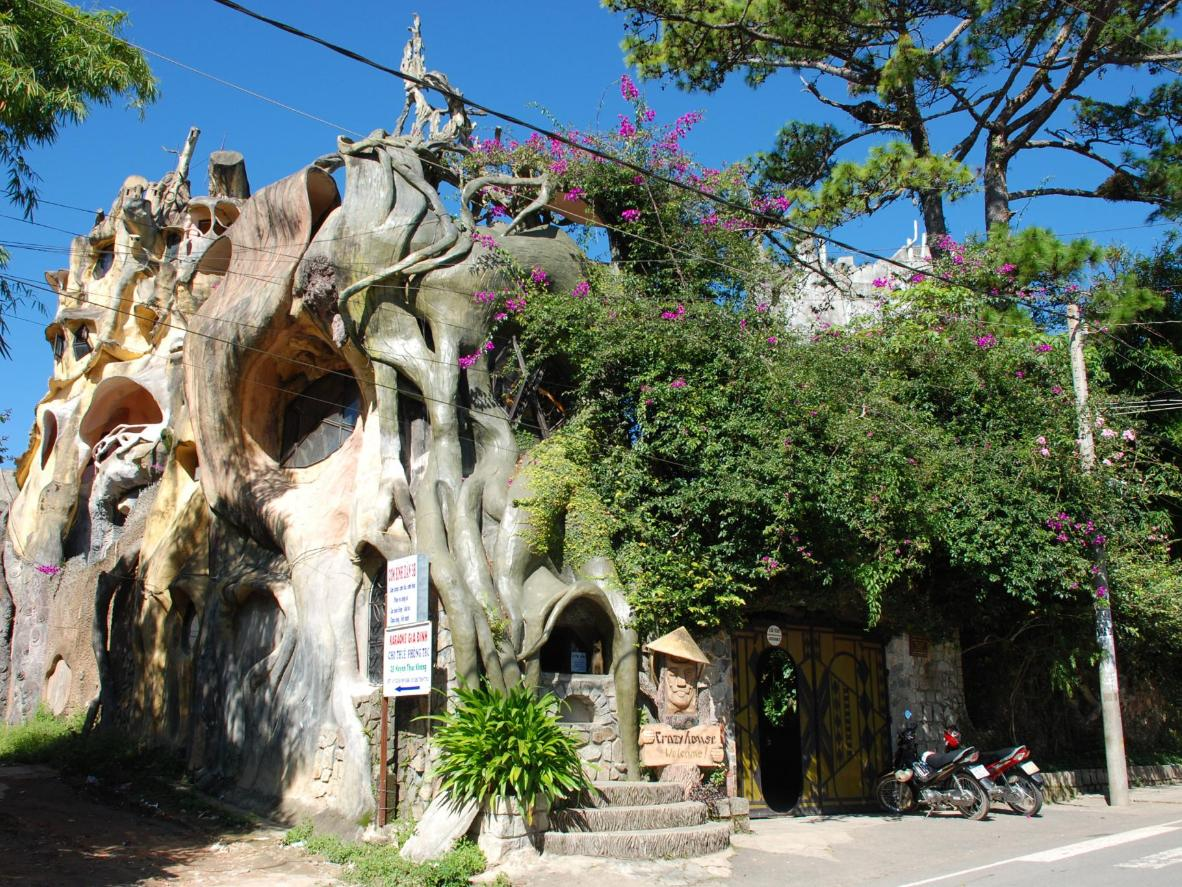 With a facade resembling gnarled tree trunks, this hotel feels like a fairy-tale setting