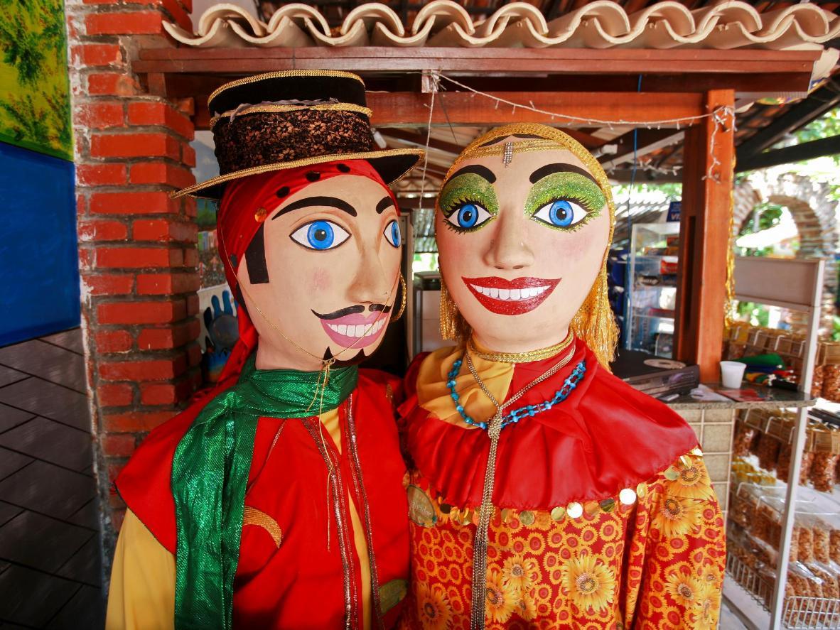 Popular carnival characters in Olinda, Brazil