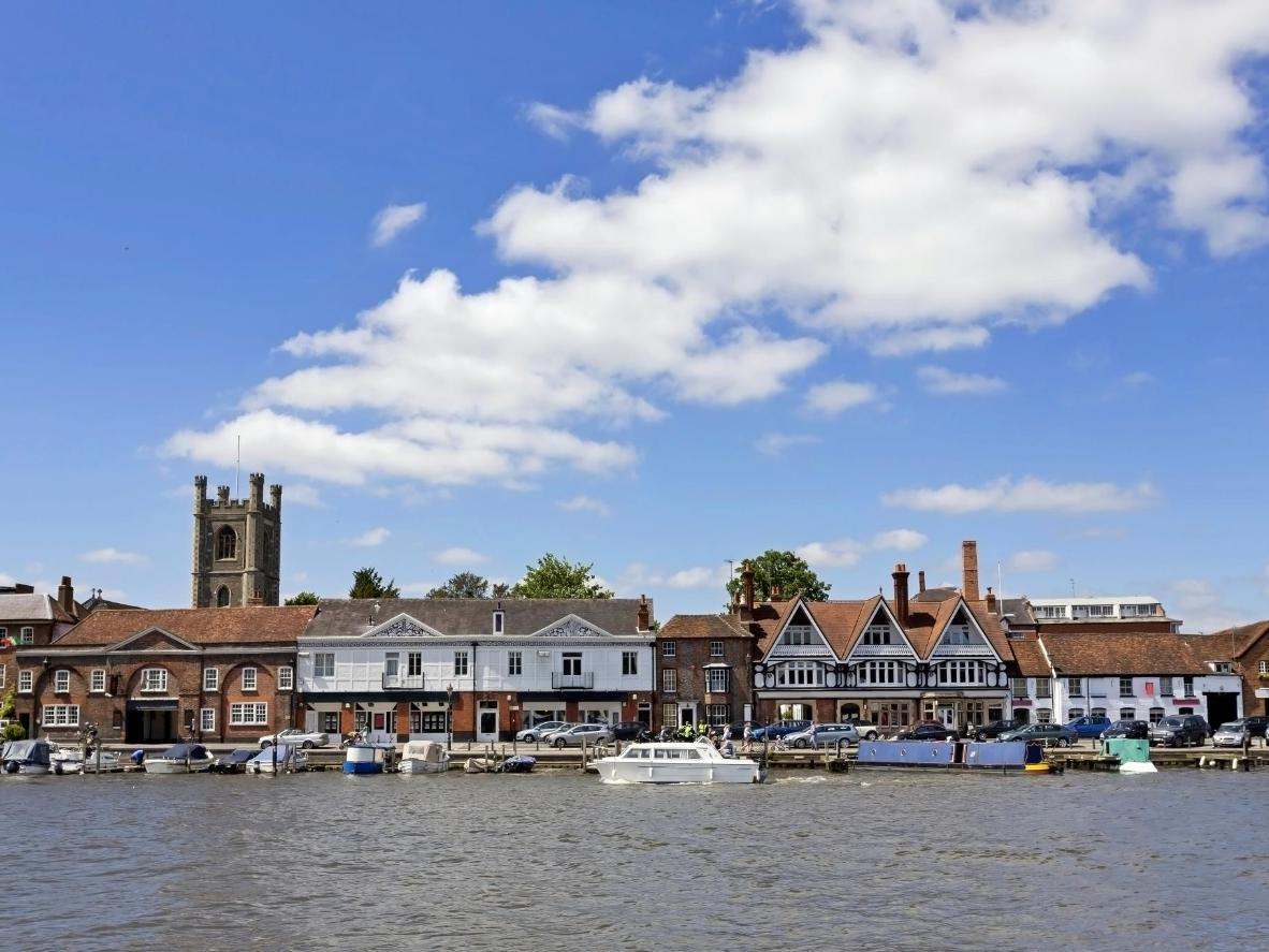 View of Henley on Thames in the Chilterns, Oxfordshire, UK.