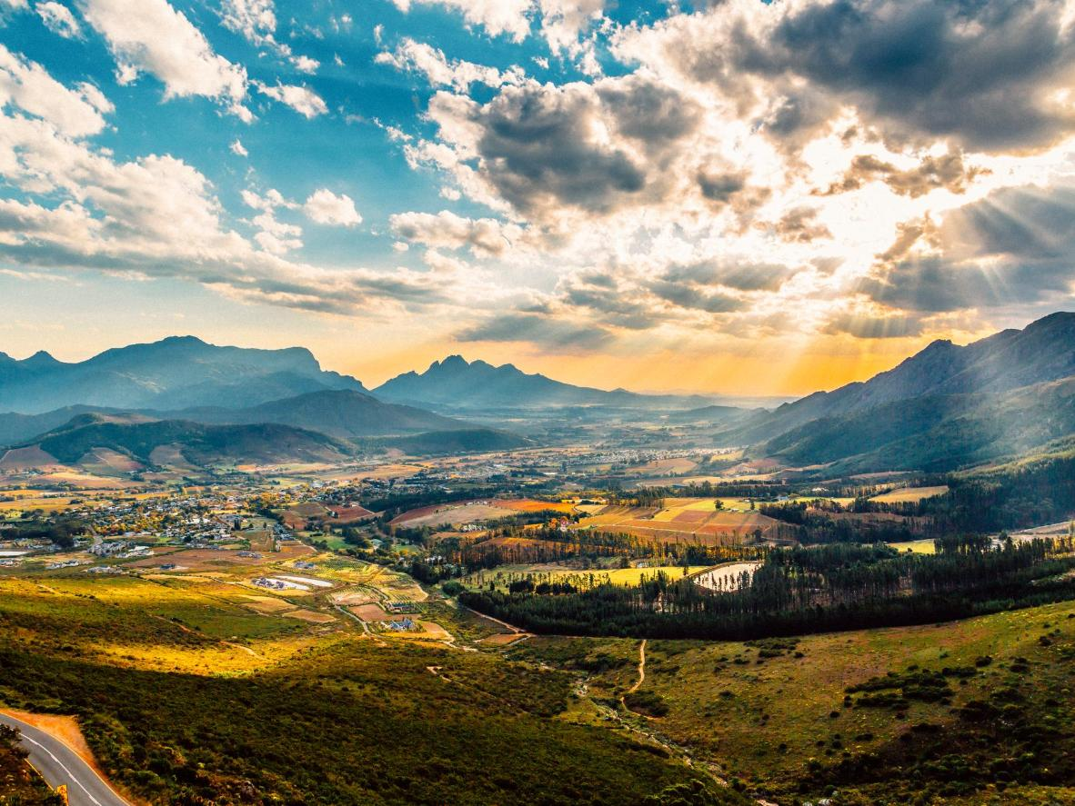 The blissful landscape of the South African winelands, Franschhoek, South Africa