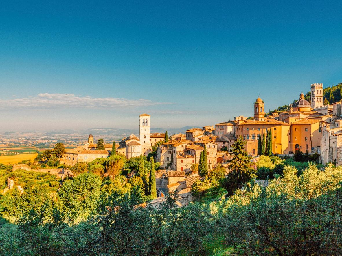 The historic town of Assisi on a spring morning, Italy