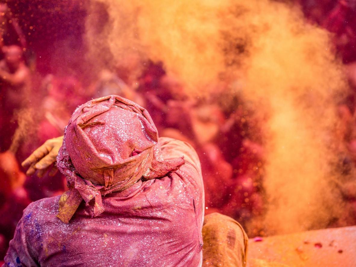 In Santiniketan, Holi is celebrated by students putting on a show for visitors