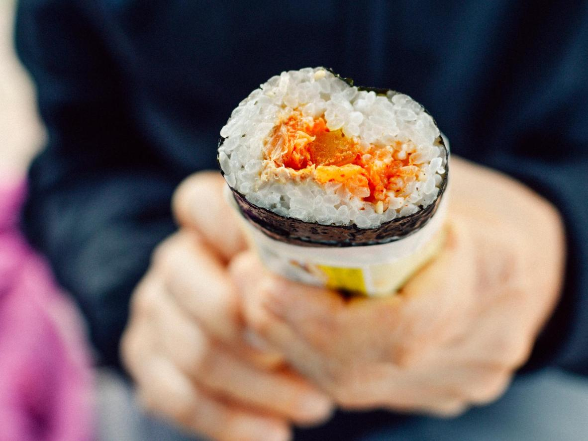 Seaweed wrapped Gimbap rolls make a satisfying anytime snack