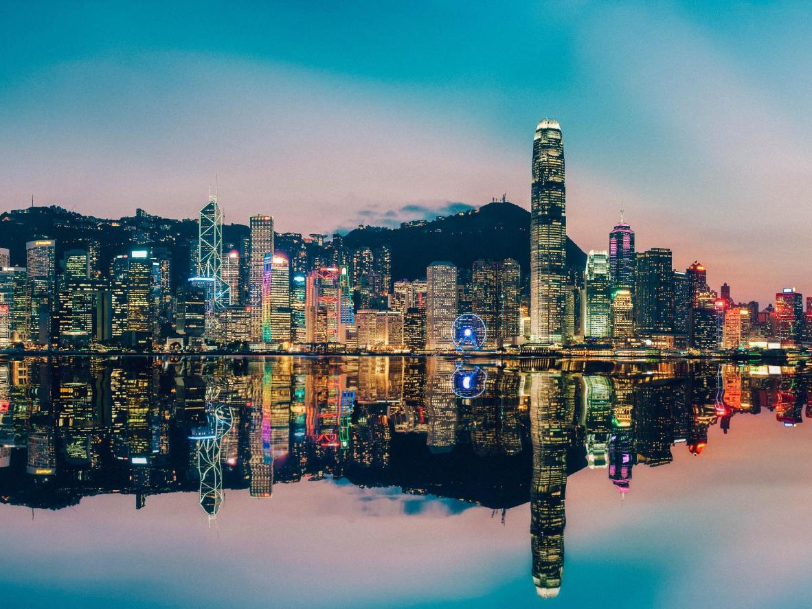 Panorama of Victoria Harbor in Hong Kong