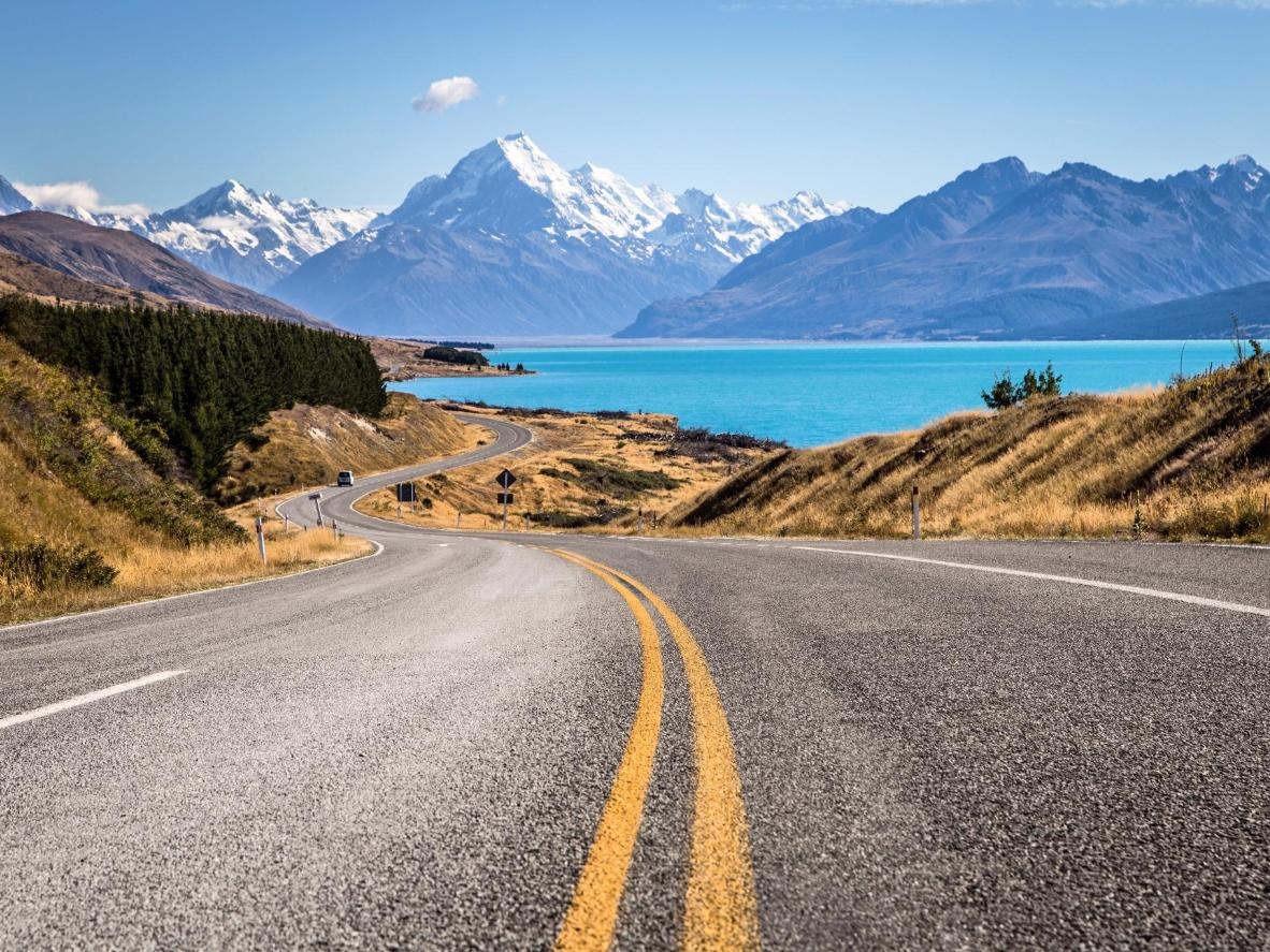 Winding road leading to Aoraki mountain, New Zealand