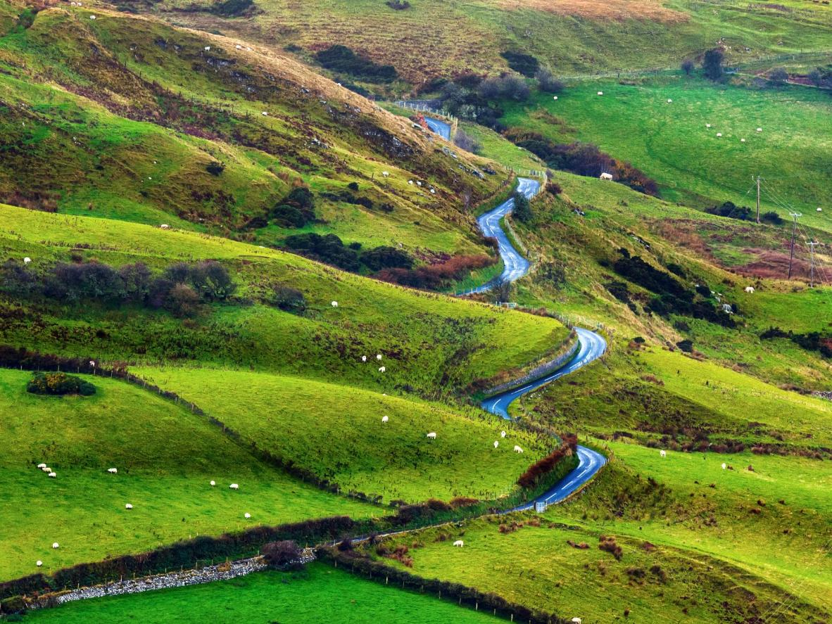Winding road County Antrim, Northern Ireland