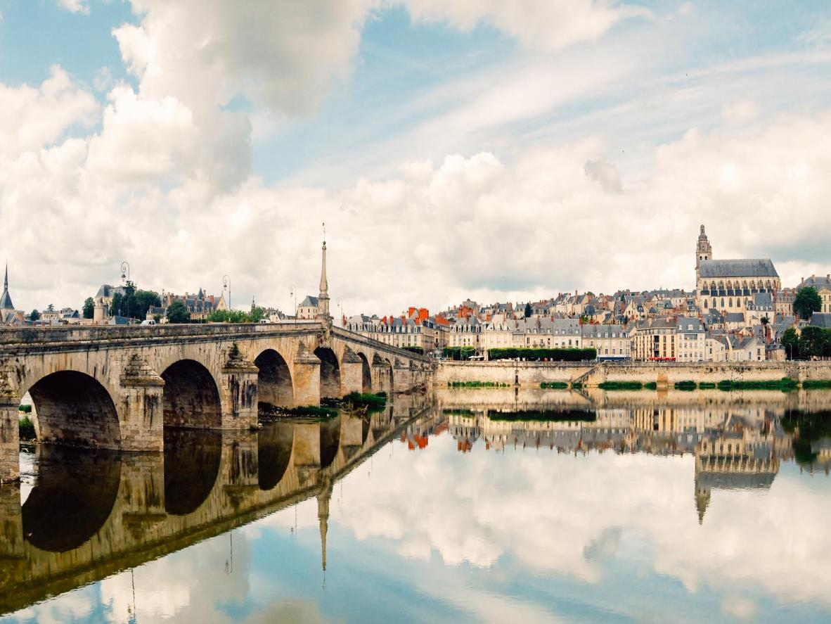Reflections on the Loire River in Blois