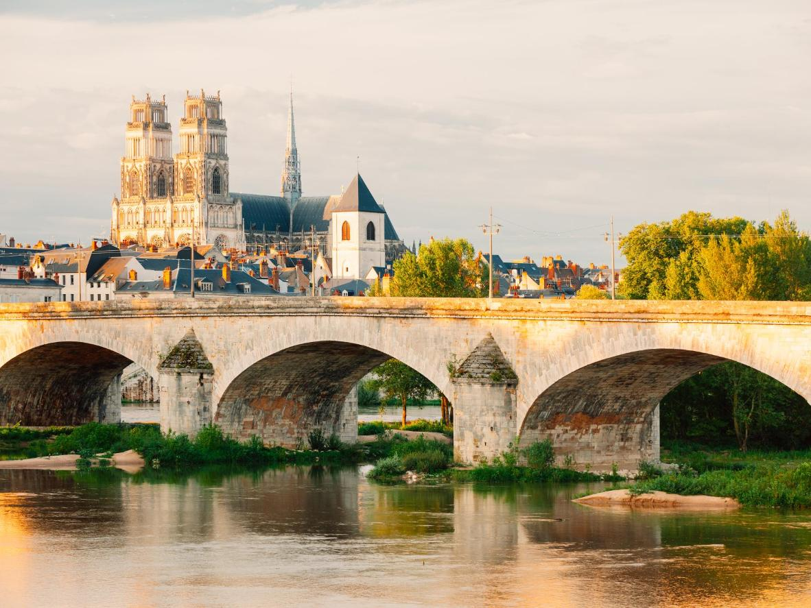 The Loire passes by Orléans' neo-Gothic Cathedral