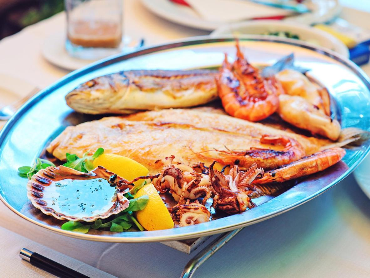 mixed grilled fish and seafood with garlic oil
