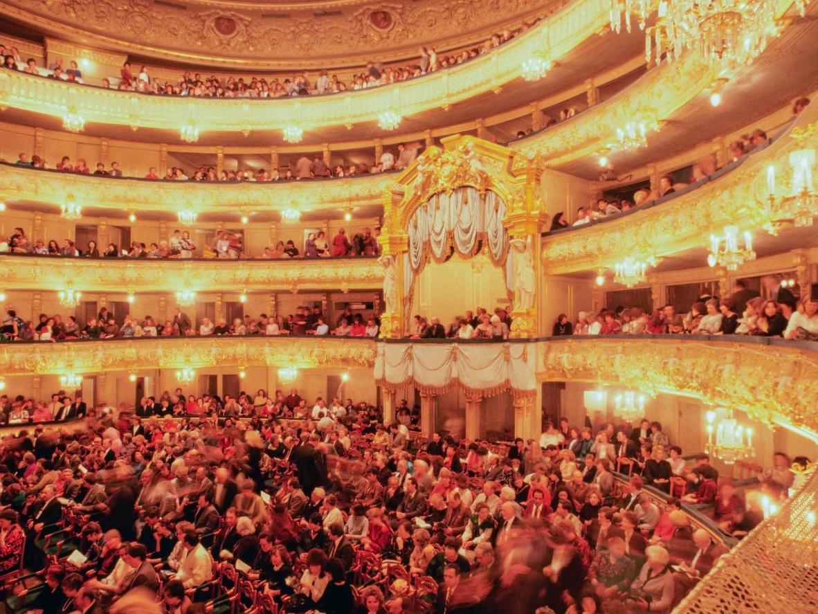 The grand interior of the Mariinsky Theatre in Saint Petersburg