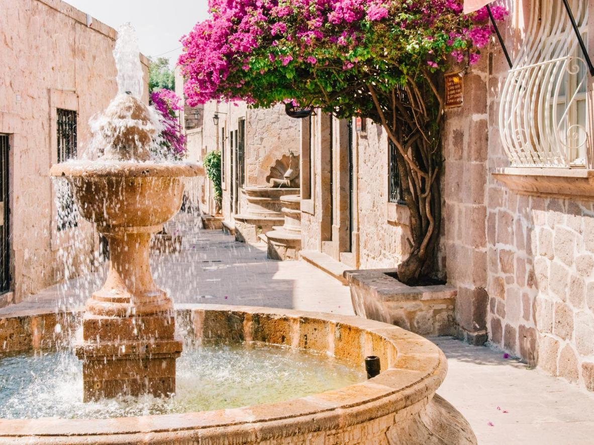 The resplendent fountains and flower-filled streets of Morelia