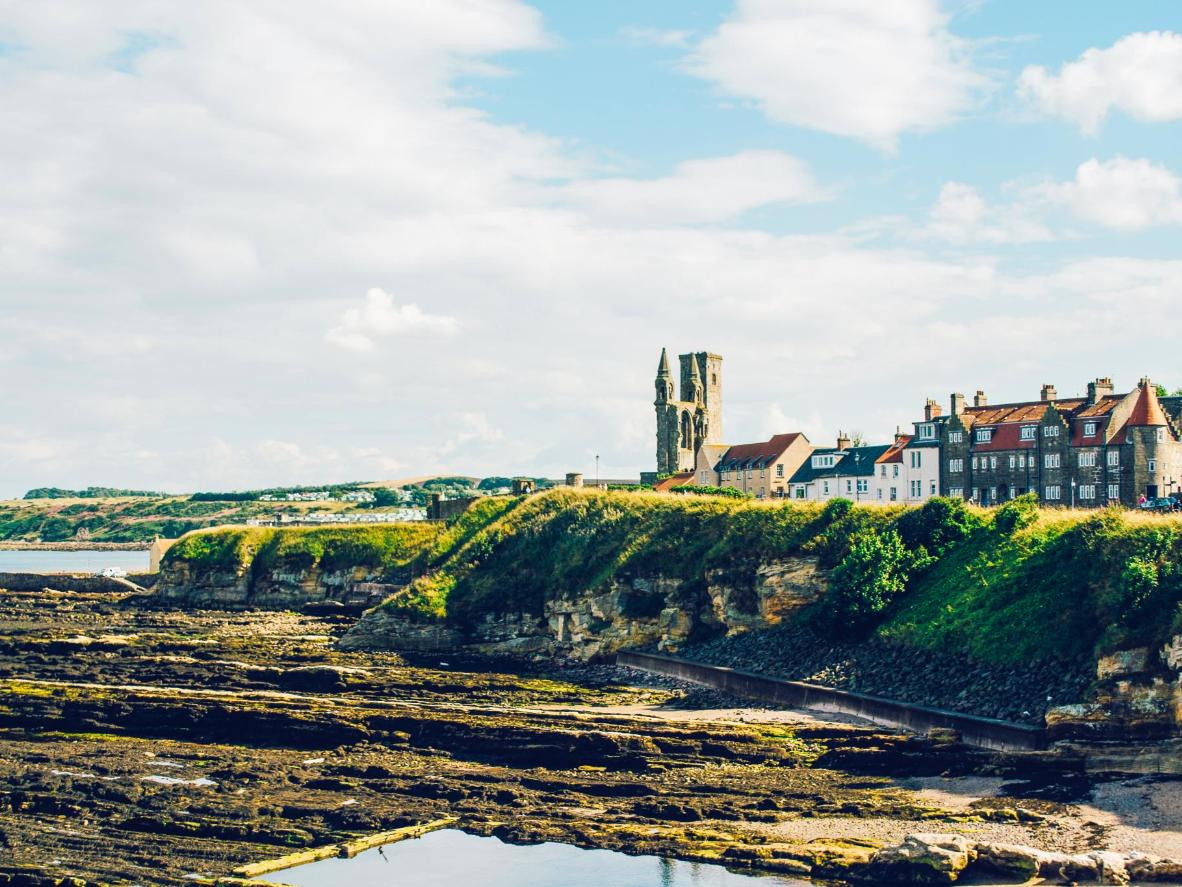 The medieval town of St Andrews overlooks the beach