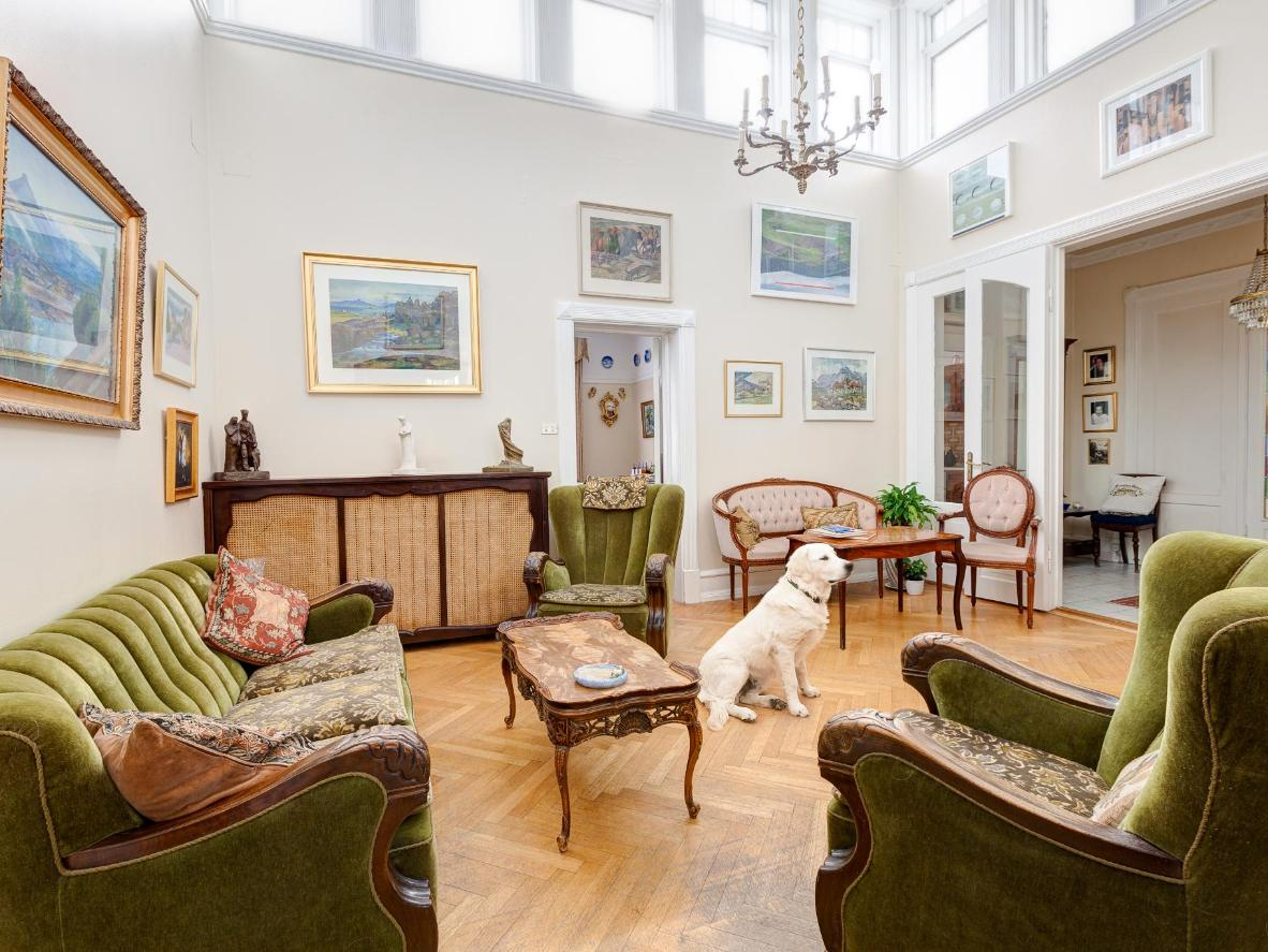 The guest house common areas are shared with the resident Golden Retriever