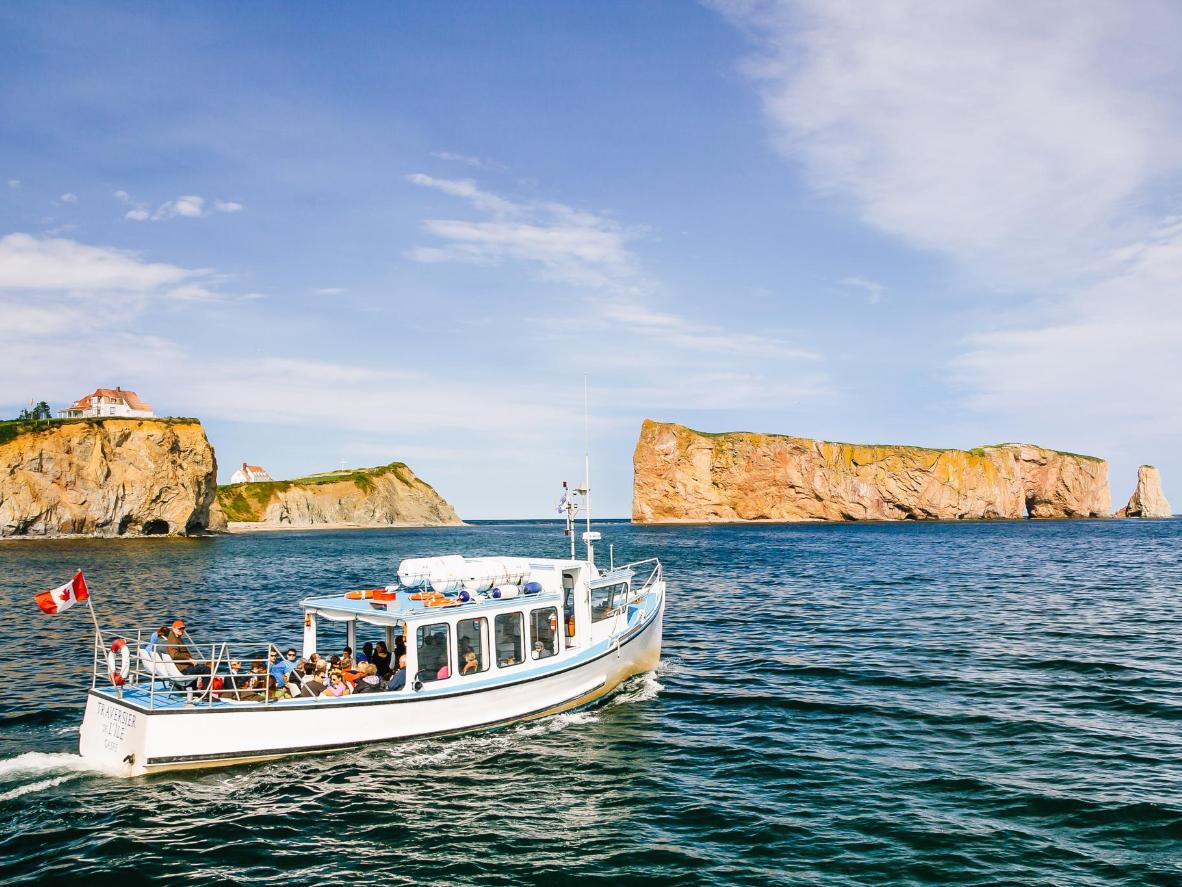A boat trip gives the best view of Percé Rock