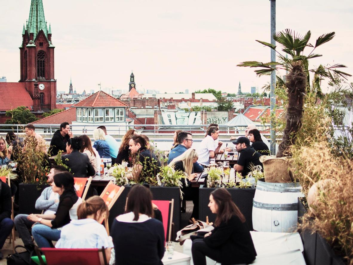 Amandine: Tucked away on the 7th floor of a parking garage, Deck5 is the perfect spot to watch the sun set over Berlin.