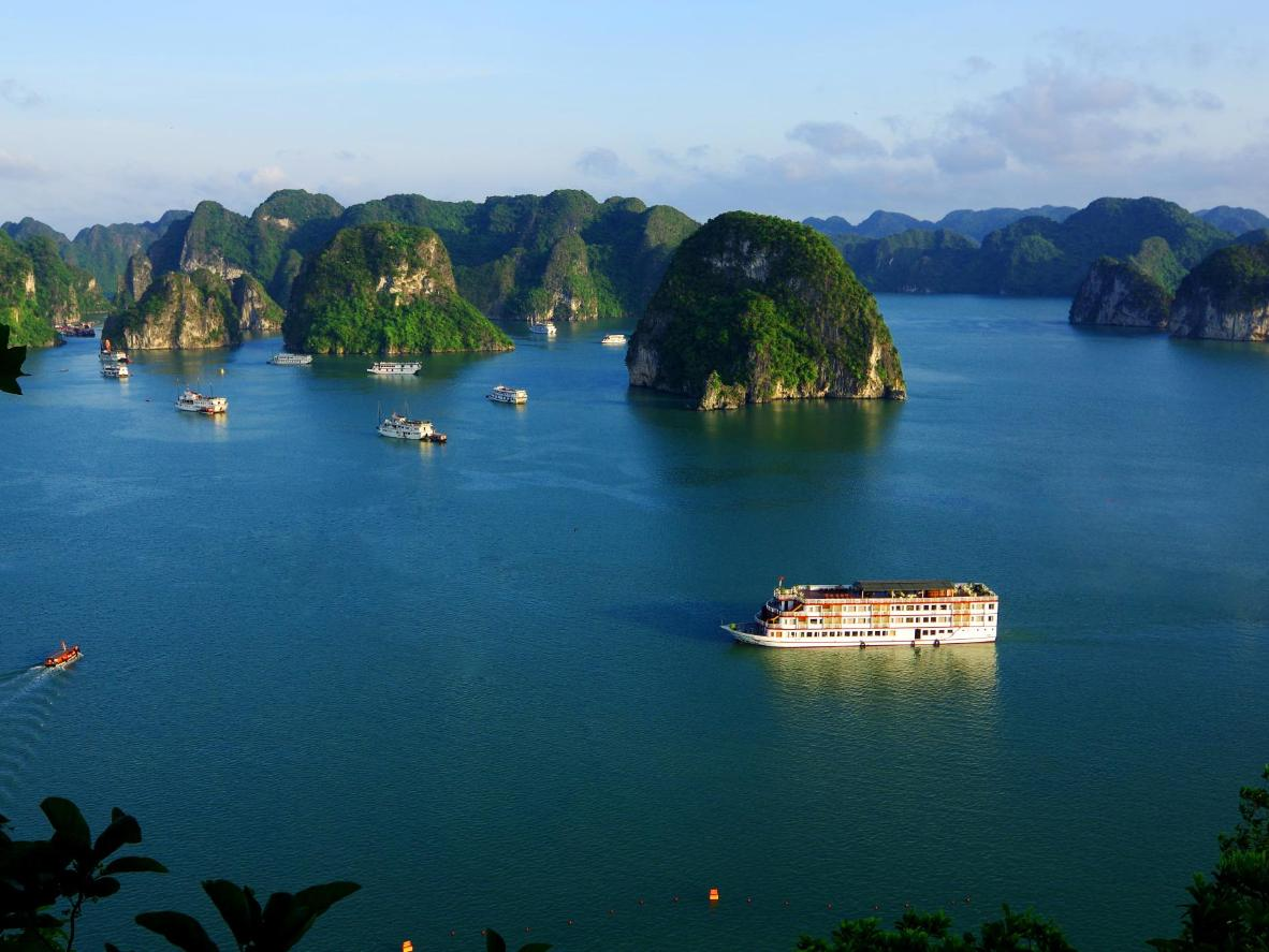Hạ Long Bay is filled with dramatic limestone formations