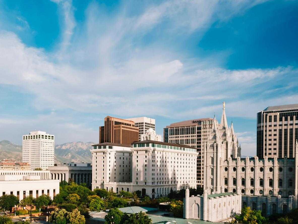 Temple Square in SLC houses the headquarters of the Mormon Church