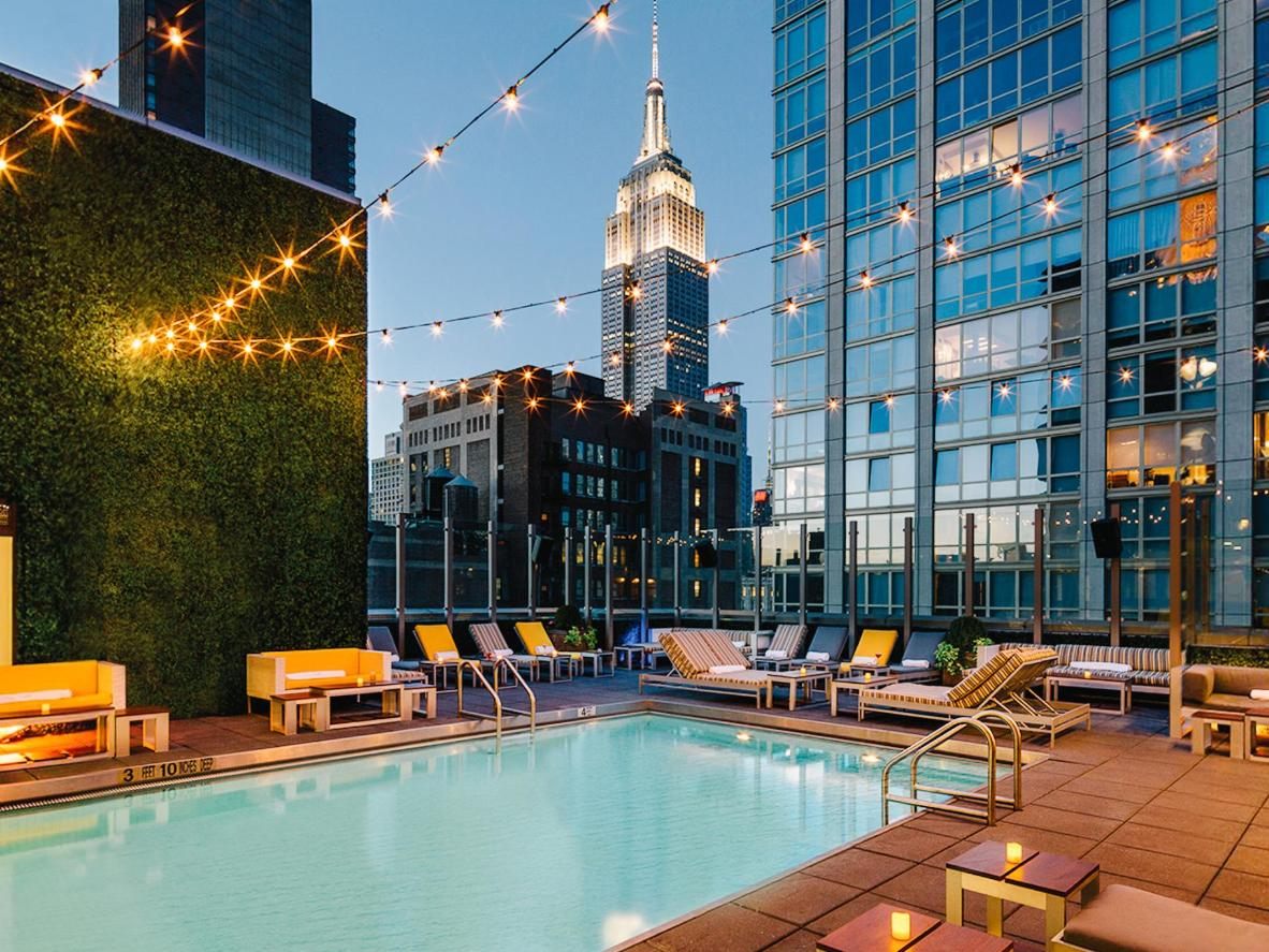 A rooftop pool overlooking New York