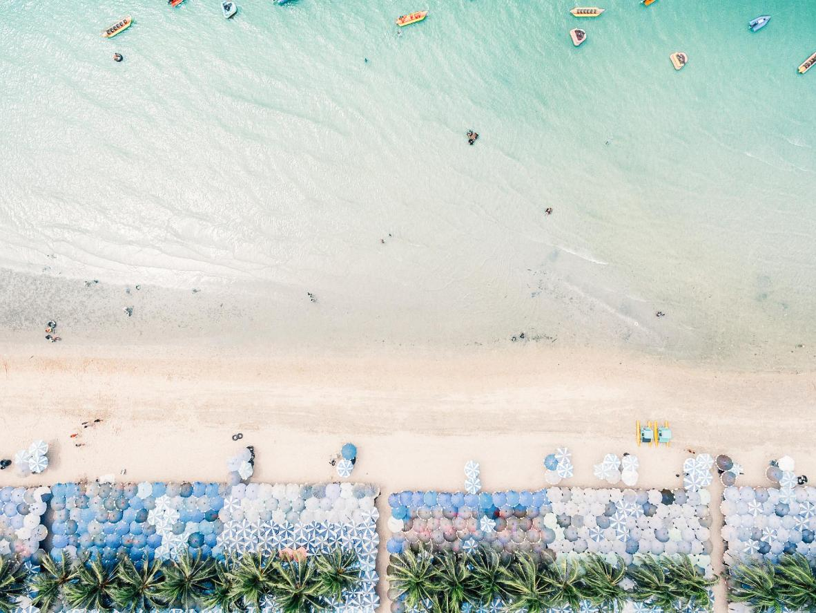 An aerial view of Pattaya Beach in Thailand