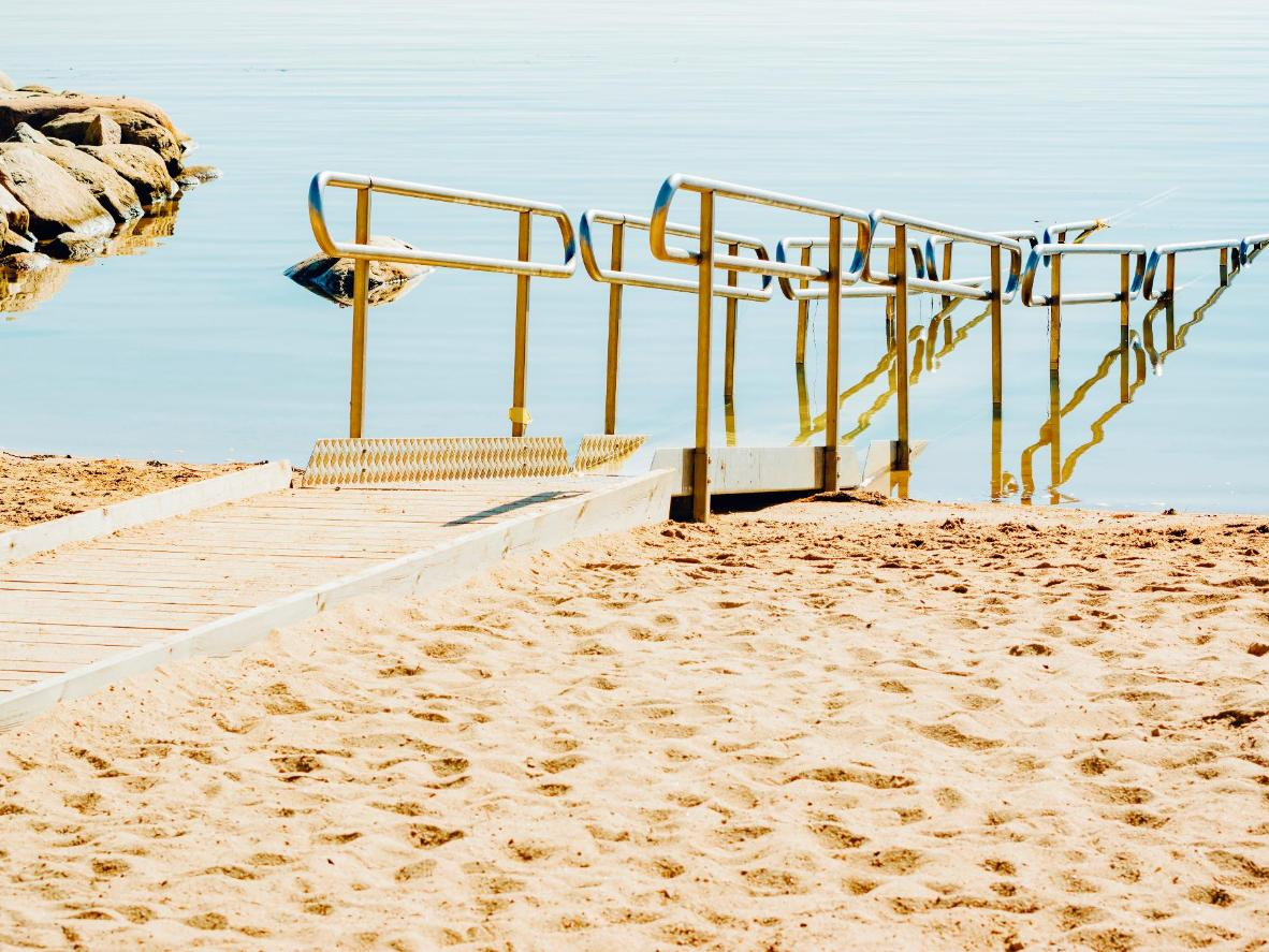 Wheelchair ramps into the sea are an easy way to make beaches accessible