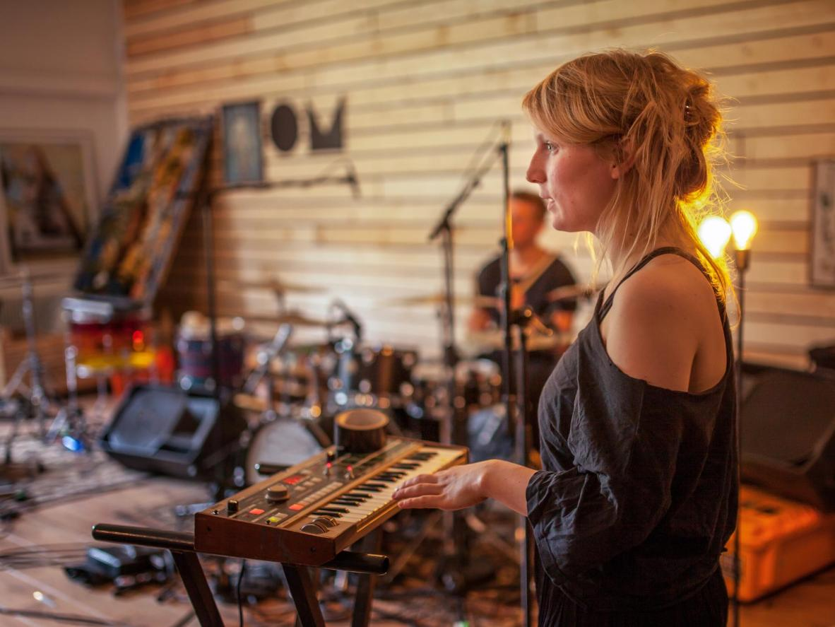 An Icelandic rock band rehearsing