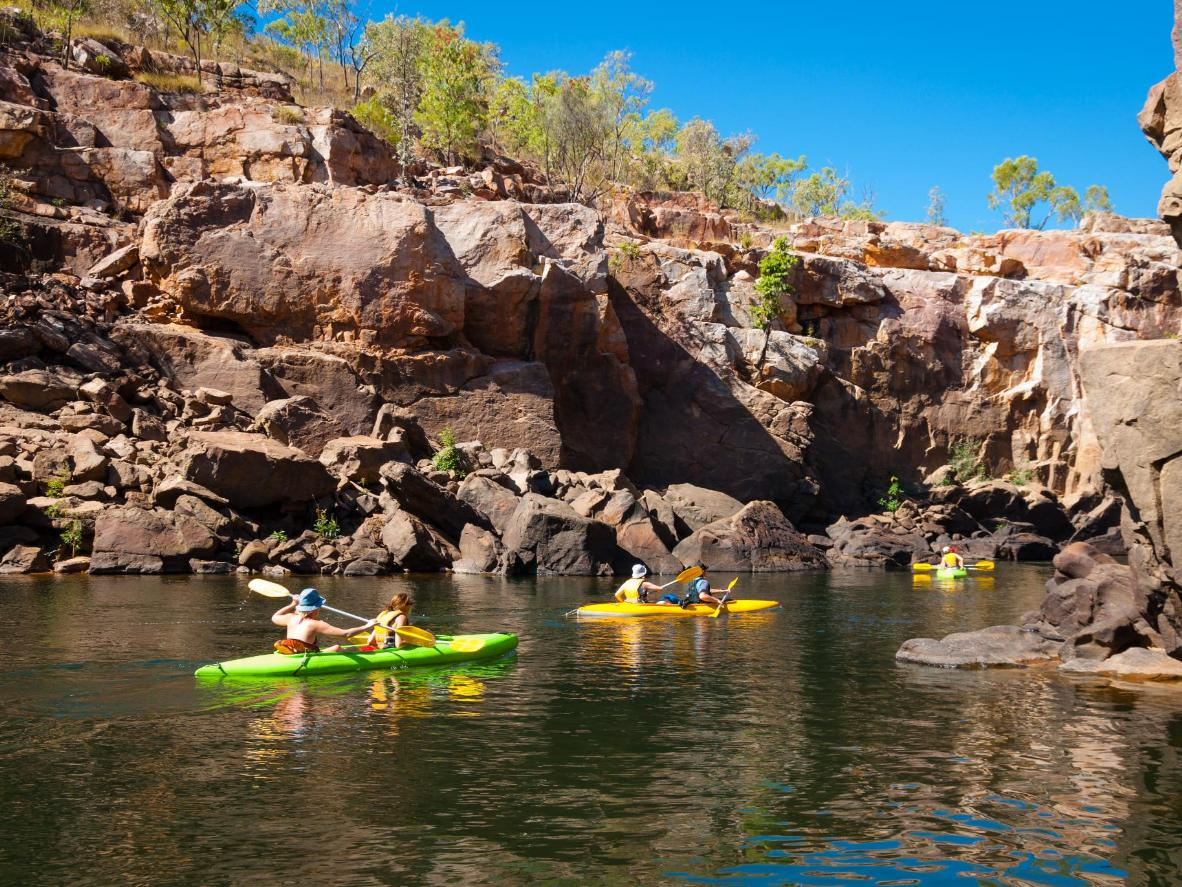 Kayak and swim in Katherine's hot springs and creeks