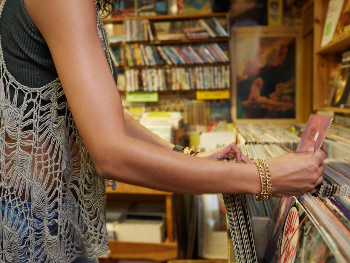 Second-hand vinyl and collector's items shop