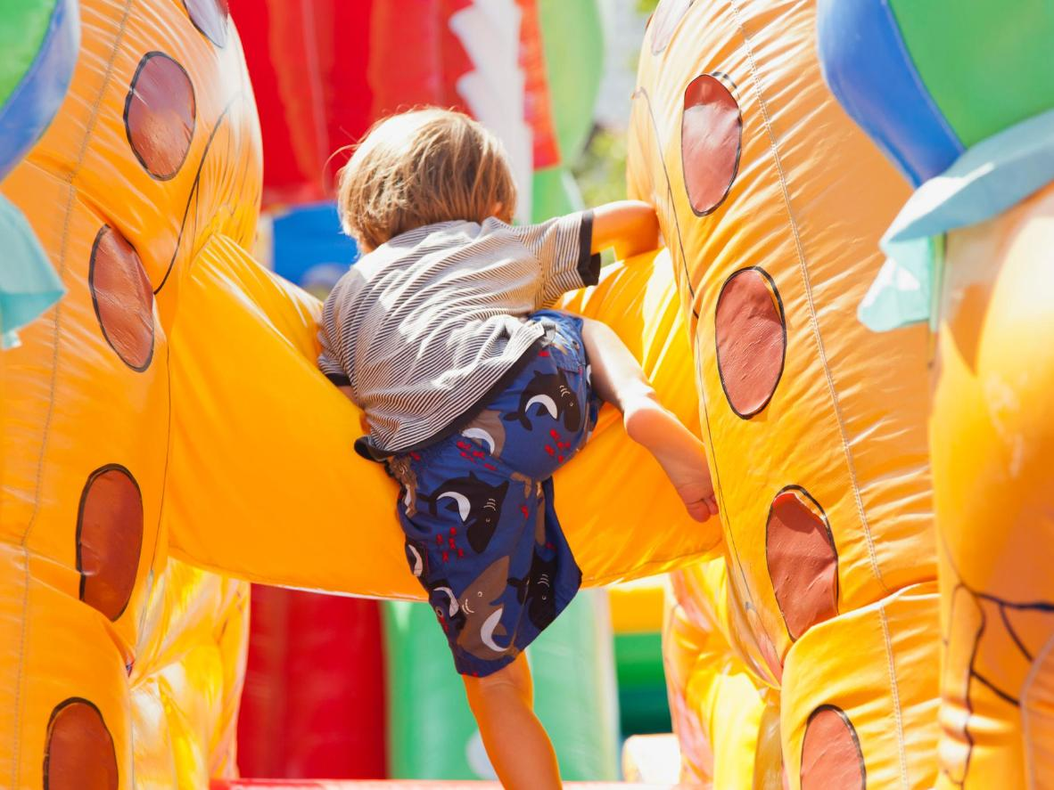 A bouncy castle is just one of the great activities available at Quidi Vidi Lake
