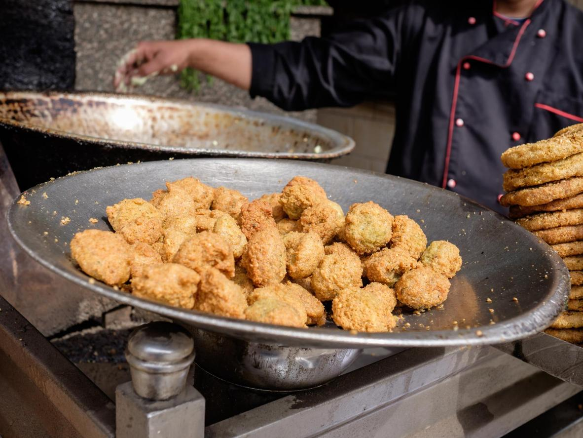 Falafel being prepared in Cairo