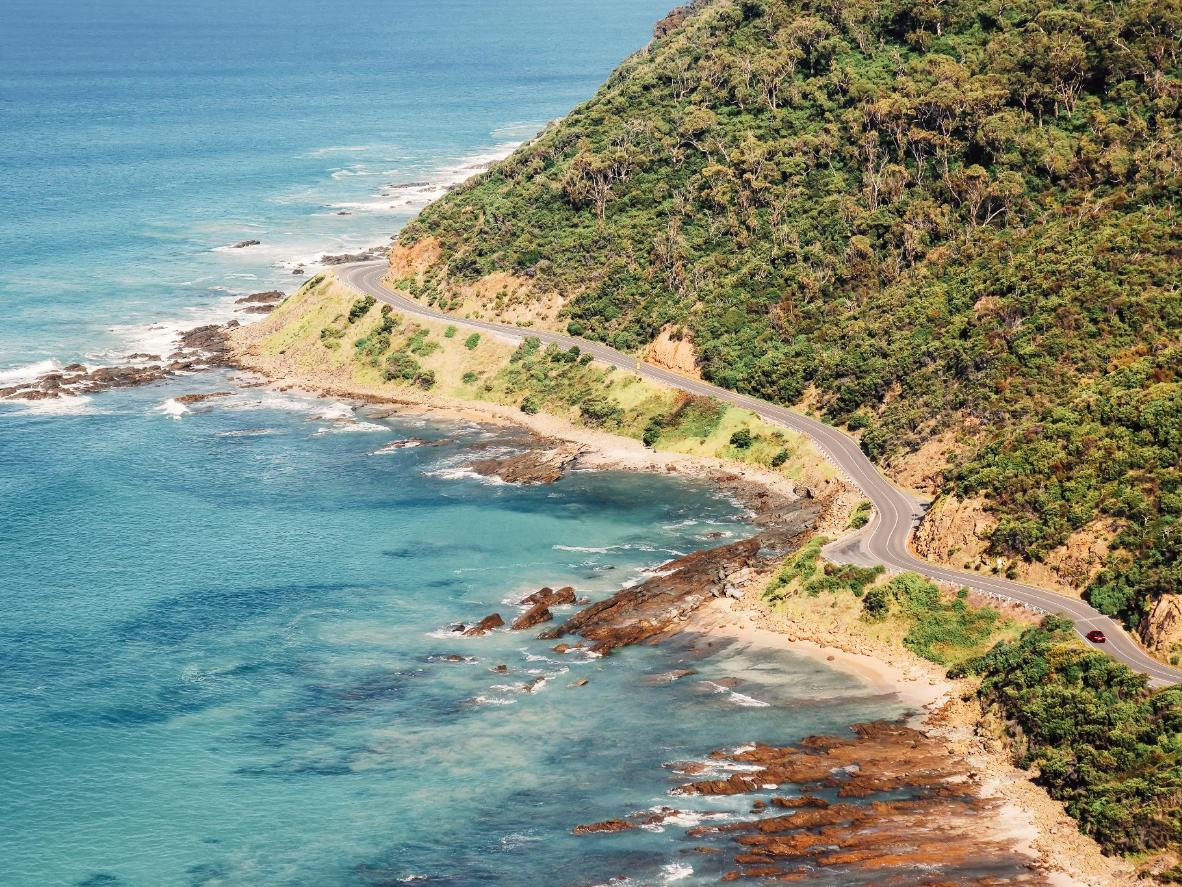 The Great Ocean Road as it winds past Lorne
