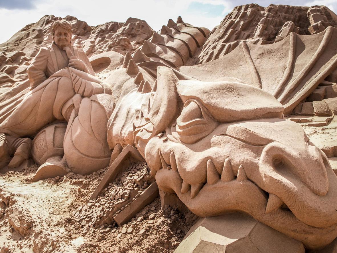 A sculpture of The Hobbit at Weston-Super-Mare