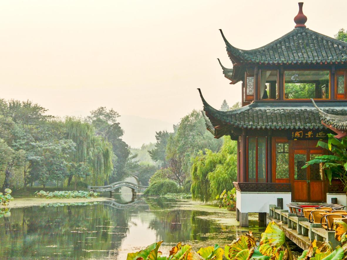 A teahouse at West Lake in Hangzhou