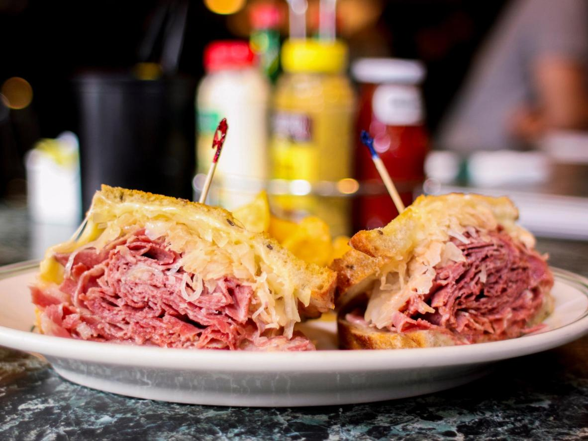 A traditional deli-style Reuben should be served with plenty of sauerkraut