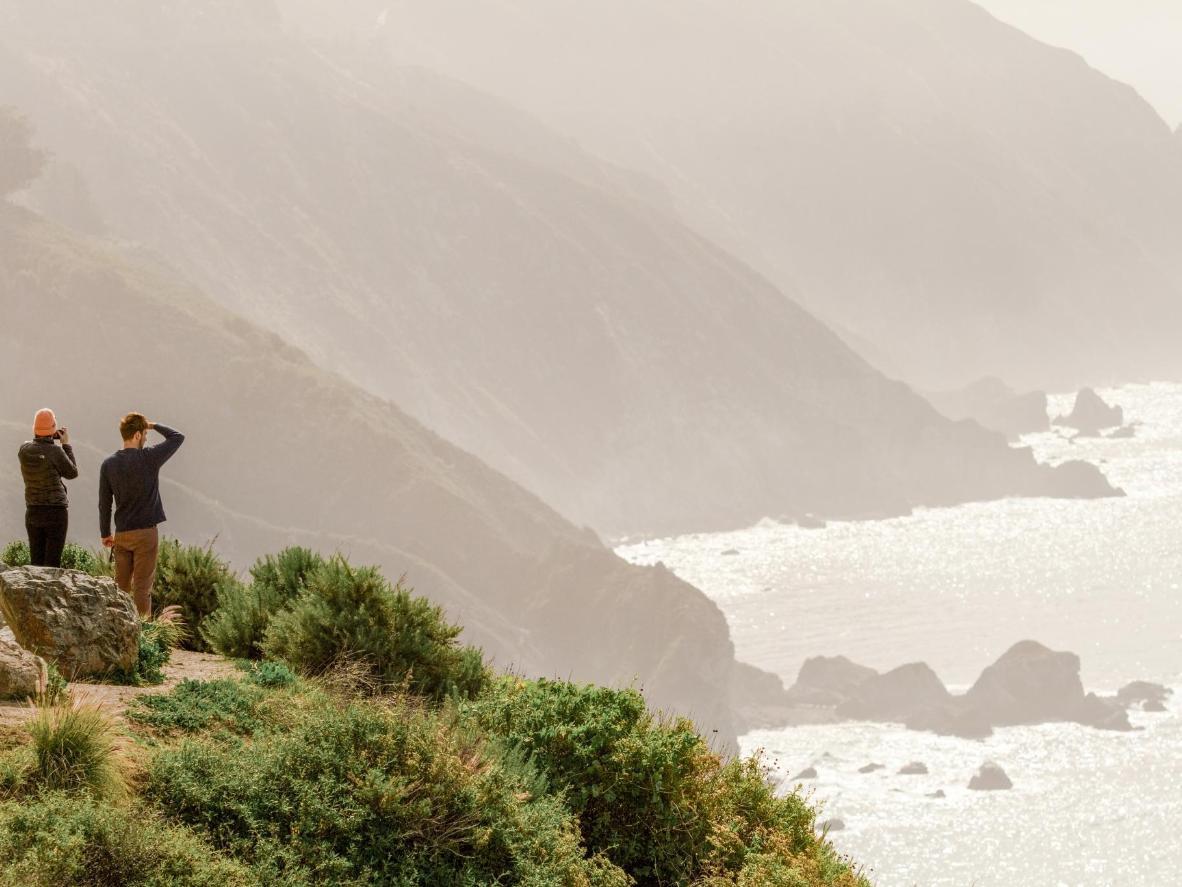 Enjoy misty coastal views from the edge of  cliff