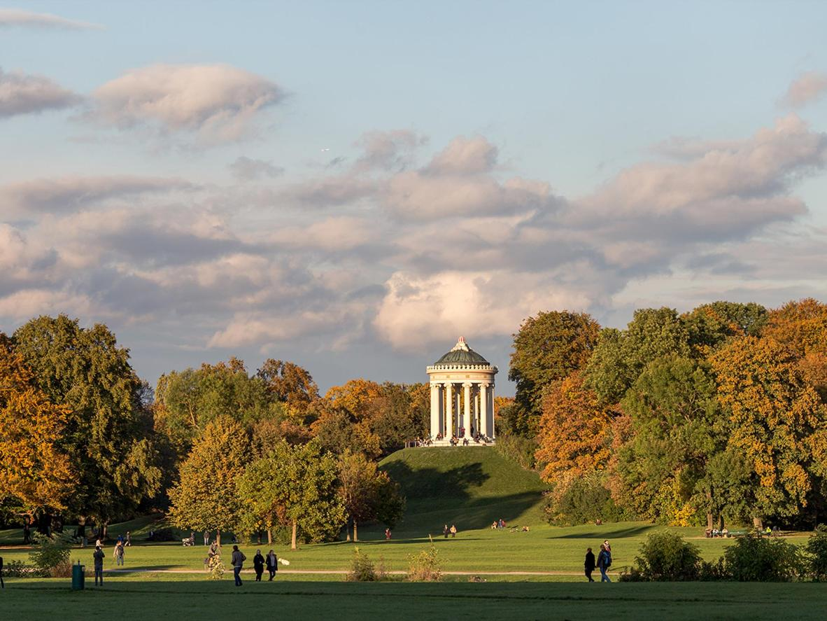 Take in views of the Munich skyline from the temple-like Monopteros in the Englischer Garten