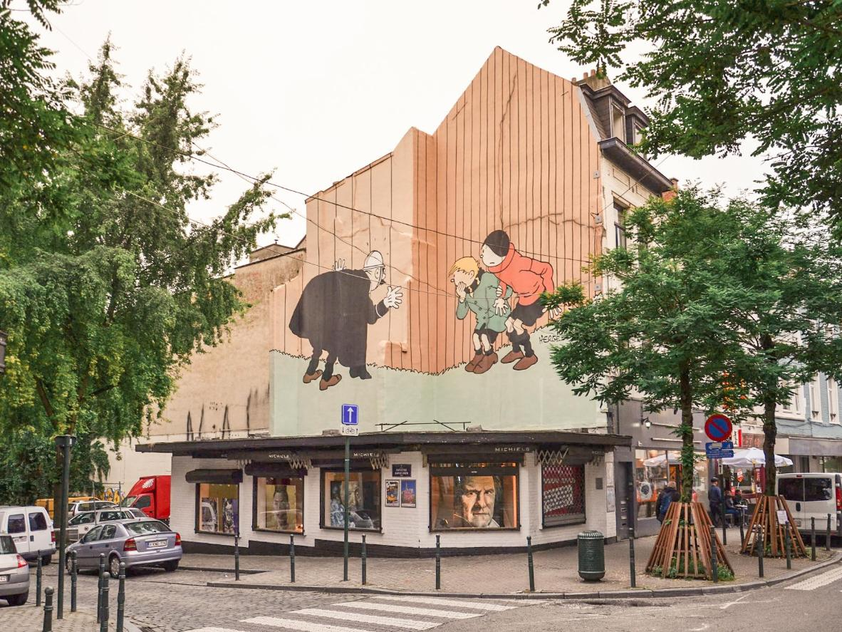 A comic mural in Brussels, a.k.a. the Kingdom of Comics