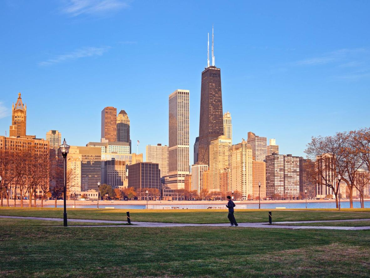 Early morning jogging by the Gold Coast in Chicago
